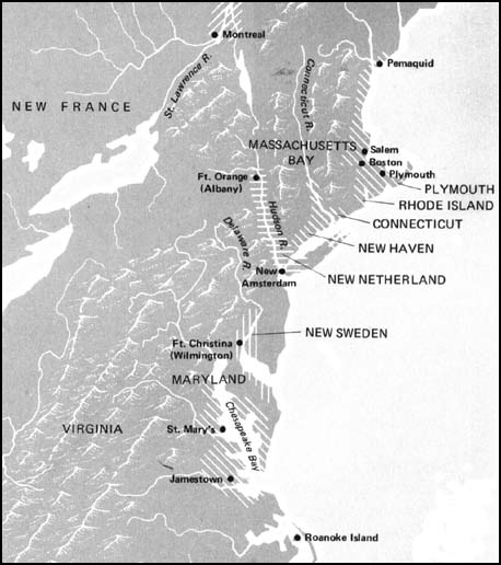 map depicting the massachusetts bay colony