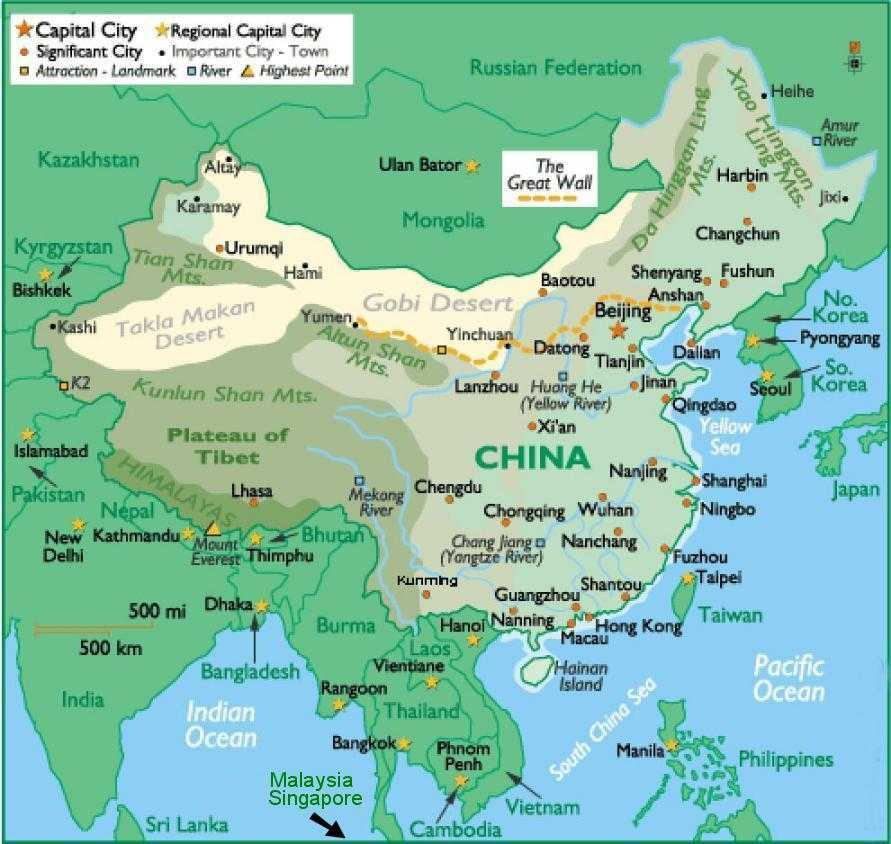 China and Surrounding Areas - Map Locator