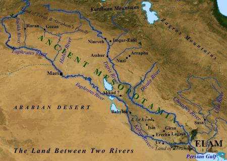 Map Depicting the Tigris and Euphrates Rivers