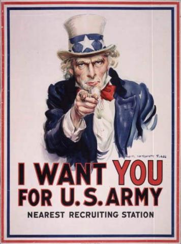 I Want You For U.S. Army - WW I Recruiting Poster  American History Government Social Studies Visual Arts
