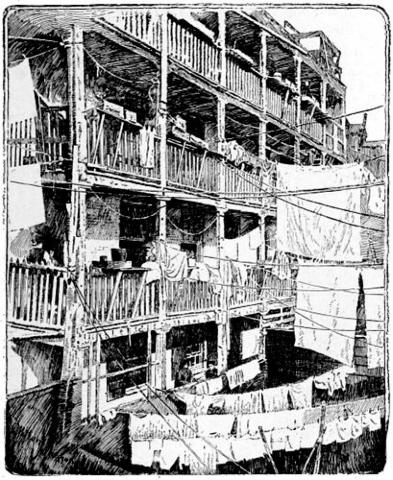 Drawing of a 19th century tenement on Roosevelt Street in New York City