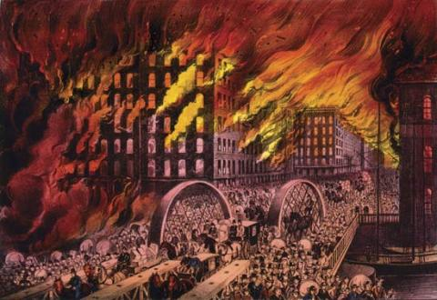 CHICAGO BURNS (Illustration) American History Awesome Radio - Narrated Stories Famous Historical Events Social Studies STEM Nineteenth Century Life Disasters
