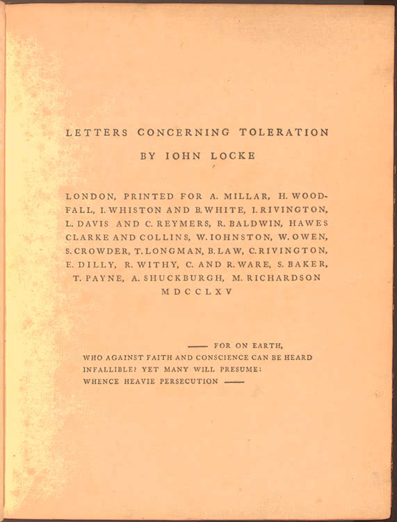 Letters Concerning Toleration by John Locke