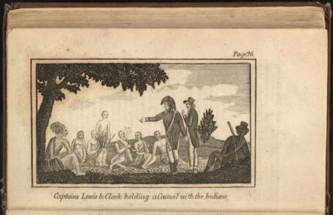 Illustrated Scene at the Expedition - Council with Indians American History Famous Historical Events Famous People Film Geography Native-Americans and First Peoples  Social Studies Nonfiction Works