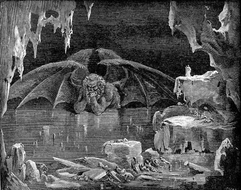 Satan Frozen in Ice - Dante's Inferno Dystopia or Science Fiction Poetry Philosophy Medieval Times Fiction Visual Arts