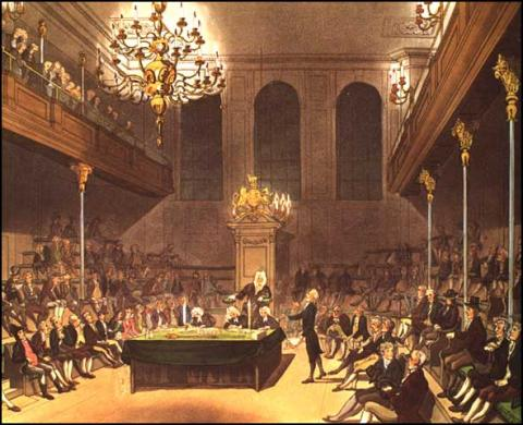 Inside the House of Commons at Westminster - 1808 Government Social Studies World History Visual Arts Nineteenth Century Life
