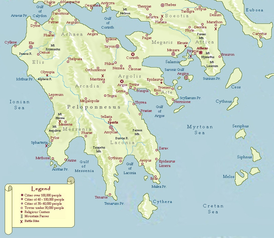 Where Is The Peloponnesus Peninsula Located On A Map