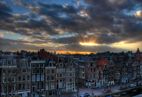 Amsterdam - Gabled Homes at Sunset Geography Medieval Times Visual Arts Disasters