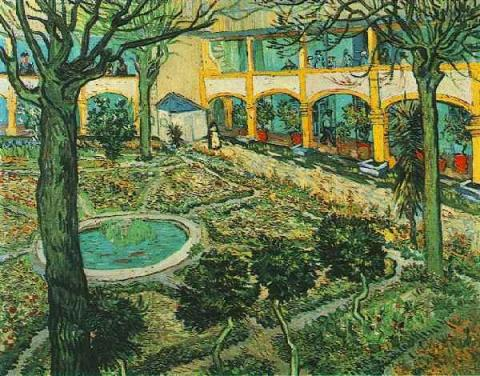 Reinhart - Courtyard of Hospital at Arles Famous People Social Studies Visual Arts Nineteenth Century Life