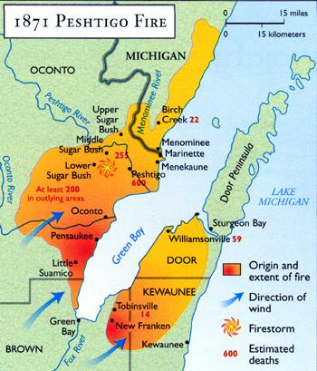 Peshtigo Fire - Area of Impact American History Disasters Tragedies and Triumphs Nineteenth Century Life Geography
