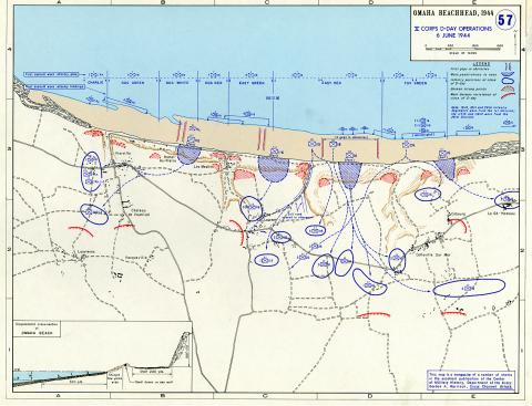 Omaha Beachhead - V Corps D-Day Operations Geography Famous Historical Events Visual Arts World War II