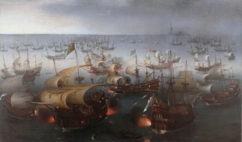 FIRE SHIPS and the BATTLE OF GRAVELINES (Illustration) Biographies Geography Government Legends and Legendary People Social Studies History Tragedies and Triumphs World History