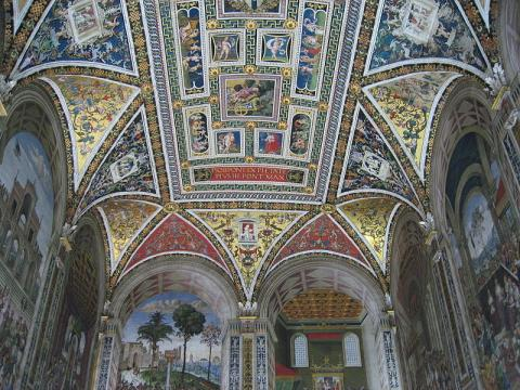 Siena - Stunning Frescoes, Duomo Siena Library Geography Medieval Times Philosophy Visual Arts