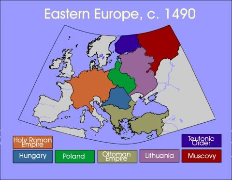 Eastern Europe Map, Circa 1490 Social Studies World History Geography