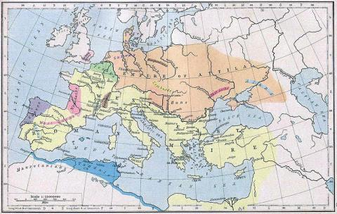 Map Depicting the Empire of Attila Ancient Places and/or Civilizations Geography