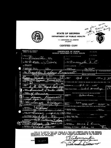 facsimile of the death certificate of U.S. President Franklin Delano Roosevelt