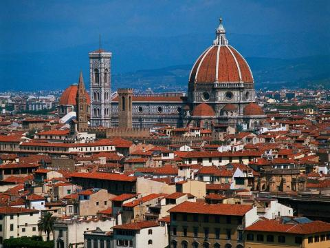 Florence - Aerial View of Firenze Medieval Times Philosophy Visual Arts Geography