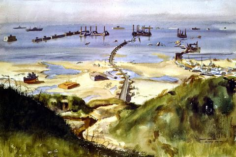 Stormy Weather - Effects of Storm on Normandy Beaches (Illustration) Famous Historical Events Geography World War II Visual Arts