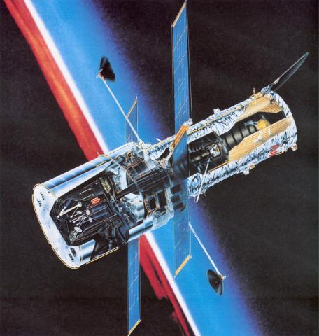 NASA Drawing of Hubble in Orbit Astronomy Education Aviation & Space Exploration STEM