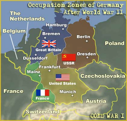Map Occupation Zones Of Germany After World War II - Germany map ww2