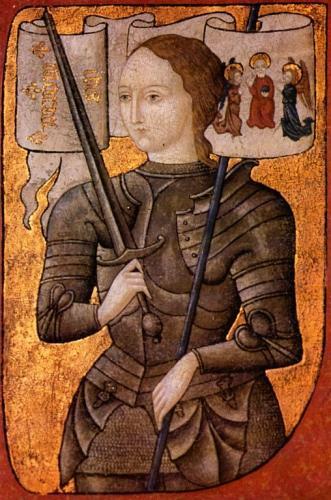 Esta pintura interpretativa de Joana d'Arc (que morreu em 30 de maio de 1431) foi criada entre 1450 e 1500. Não há nenhuma imagem exata de sua existência. Sabe-se que ela pousou para uma pintura, mas ninguém sabe quem foi o pintor e o que foi feito do quadro. Ela mesma não sobreviveu para vê-lo.